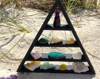 Black Triangle Shelf, Meditation Shelf, Girlfriend Gift Crystal, Bohemian Shelf, Altar Shelf, Crystal Shelf, Crystal Display, Goddess