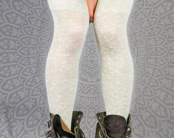 Sheer WHITE Ecru Cotton Thigh High Stockings - Textured Victorian Steampunk Over the Knee Socks - Country Wedding - Bridal Vegan Lace Socks