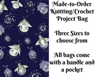 Fireflies - Purple, Knitting Project Bag, Large Project Bag, Drawstring, Zippered, Sock Sack, Yarn Tote, Sock Project