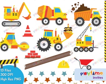 Colorful Trucks Clip Art - Diggers birthday clipart - personal & commercial use