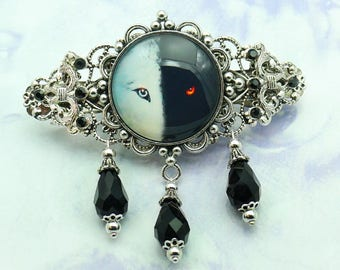 Hair clip Wolfen with rhinestones and glass cut raw-sil-015