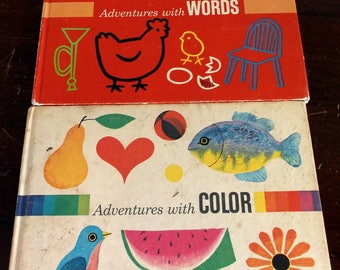Vintage set of 2 books Adventures with Words and Adventures with Color 1970 editions Adelaide Holl and Seymour Reit