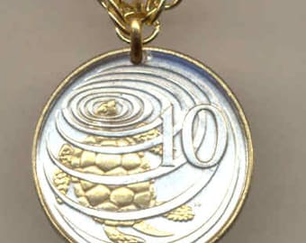 "Cayman Is. Turtle  - Coin Necklace, Gorgeous 2-Toned ""Gold on Silver"""