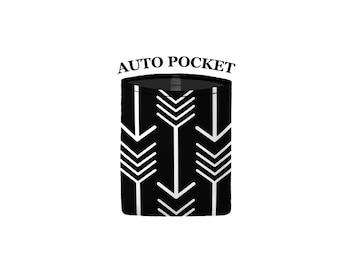 Auto Pocket - Arrows - Black White - Car Accessory Automobile Caddy