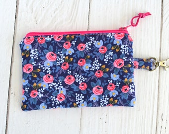 Rifle Paper Co Coin Purse with Swivel Clip/ Mini Zipper Pouch/ ID Card Wallet/ Keychain Coin Purse/ Rosa Navy