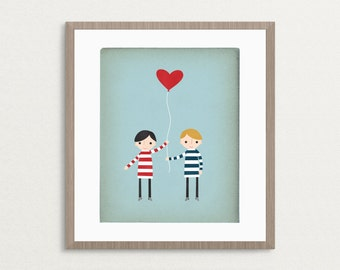Love Is In The Air - Boys - Customizable 8x10 Archival Art Print