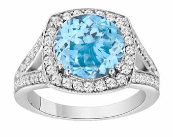 3 Carat Blue Topaz Engagement Ring, Blue Topaz and Diamonds Wedding Ring, 14K White Gold Pave Set HandMade Certified