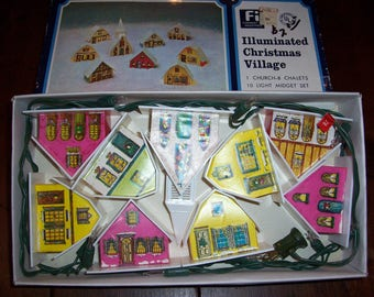 Vintage Lighted Alpine Village Christmas Houses...9 Plastic Houses with Original Box...Very Good Condition...Mid Century Christmas...