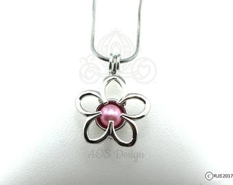 "Pick A Pearl Cage Necklace Silver Plated Flower Outline Charm Holds a Pearl Bead Gem 18"" Silver Necklace"