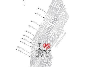 "Manhattan ""I Love NY"" Neighborhood Map 11 x 14"" Print"