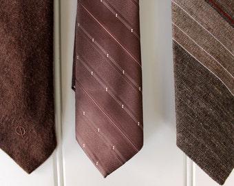 Vintage Neck Ties - Browns - YSL - Etienne Caron - pedo - Stripe Solid - Wool Finish - Set of 3 Vintage Ties - Vintage Tie Sale