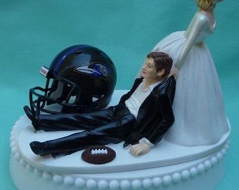 Wedding Cake Topper Baltimore Ravens Football Themed w/ Garter Sports Fans Bride Groom Reception Fun Bachelor Bachelorette Party Shower Item