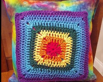 Handmade Rainbow Granny Square and Flannel Pillowcase with Pillow