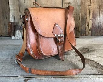 Brown Leather Messenger Handbag, Handcrafted Saddle Bag, Made in Greece, Crossbody Messenger