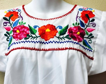 Medium Adult Embroidered Blouse from Mexican Craftsmen/ Handmade Mexican  Embroidery, Ethnic Blouse,Mexican