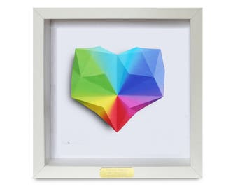 Framed Personalised Rainbow Origami Heart - 1st Wedding/ Anniversary/ Engagement/ Wedding Gift