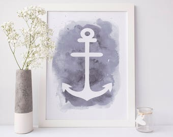 Coastal Nursery Art, Anchor Poster, Baby Print, Wall Printables, Nautical Nursery Decor, Digital Download, Printable Wall Art, Gray Wall Art