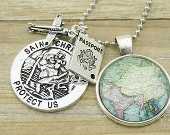 China/India/Burma/Cambodia with Passport, Plane and St Christopher Charms on a silver Necklace - Australian Seller - Travel Jewelry