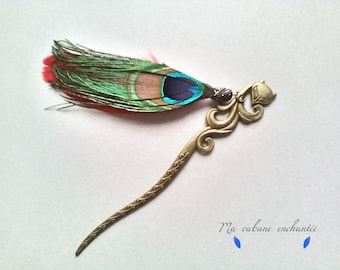 Mothers day bookmark, bookmark, Fox and Peacock feather, Spike hair retro, sixties, original gift