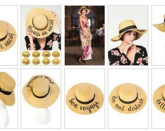 Embroidered Sun Hat; Sun Hat; Hello Sunshine; Just Married; Hat with SPF50; Floppy Sun Hat; aloha beaches; honeymoon hat;sun hat with saying