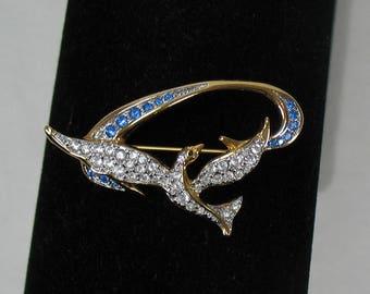 Swarovski Crystal Dove with Blue Ribbon Brooch - Vintage