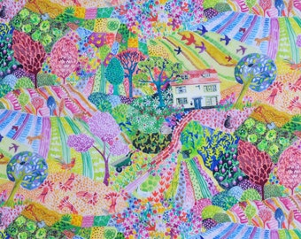 NEW Liberty fabric Tana Lawn Royal Oak House scrap - 5x10'' yellow,gree,pink,blue - NEW 2017 Collection - The Little Land of Rhyme