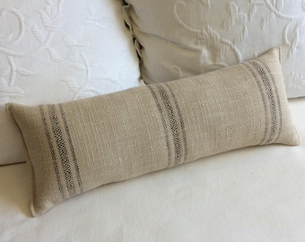 Brown Stripes French country lumbar bolster pillow 9x25