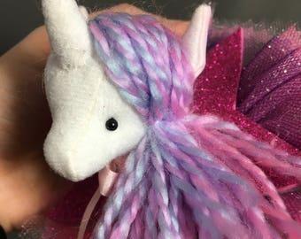 Unicorn Barrette, Magical Glitter Faux Vegan Taxidermy Fascinator,pink purple  soft sculpture, plush animal hair accessory, brooch, pin b