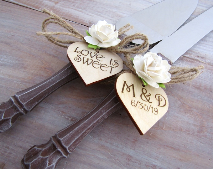 Rustic Wedding Cake Server Knife Set Wood Look Handle Ivory Flower Personalized Bridal Shower Gift Wedding Gift You Choose Colors