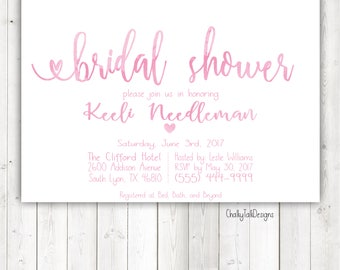 Pink Watercolor bridal shower invitation, watercolor shower invitation.