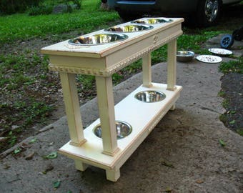 Double Elevated Dog Bowl Feeder, Two Dogs, Distressed Antique White, 3 Two Quart Bowls, 2 One Quart bowls, Two Tier Feeder, Made To Order
