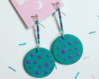 Turquoise and Purple Polka Dot Circle Earrings, Dangle Earrings, Beaded Earrings, Statement Earrings, Chunky Earrings, Party Earrings