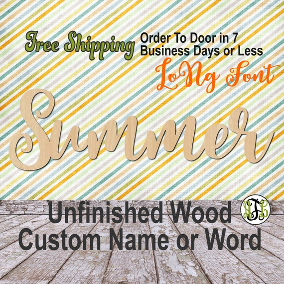 Unfinished Wood Custom Name or Word LoNg Font, wood cut out, Script, Connected, wood cutout, wooden sign, Nursery, Wedding, Birthday