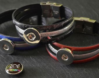 Leather Bracelet Multilayer metallic medium Cabochon snap 18-20mm (available in 3 colors)