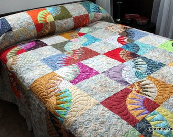 "Queen Bed Quilt NEW YORK BEAUTY Scrappy Style 92"" x 100""  Ready to Ship"