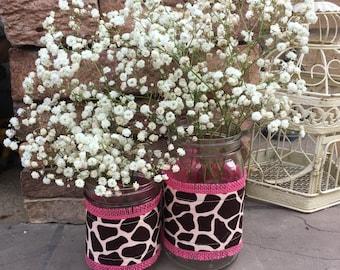 Mason Jar Wrap, Giraffe Print & PINK Burlap, Mason Jar Decoration, Baby Shower, Party, Wedding Decoration