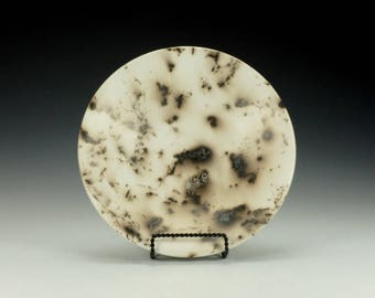 Horse Hair Raku Pottery Bowl, black and white.  Ready to ship.
