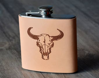Personalized Flask, Groomsmen Flask,Leather Flask,Groomsmen Flask,Custom Flask,Flask, Custom leather flask, Groomsmen gift,6 oz capacity