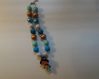 Princess Jasmine of Aladdin Disney inspired blue chunky little girl party favor birthday gift bubble gum bead necklace