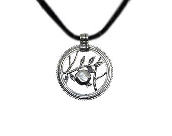 Pomegranate Silver Pendant Necklace  gift for Her Silver Sterling 925