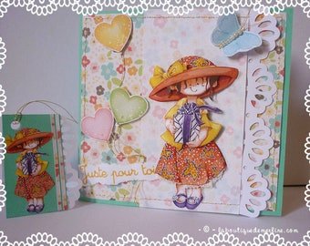 Child card: girl butterflies and background floral 3D