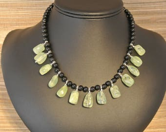 Black Onyx, Prehnite and Sterling Silver Necklace
