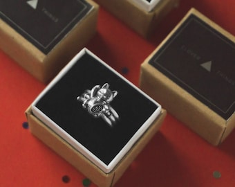 Cat ring, Maneki cat silver ring, 925 ring, gold ring, maneki, neko, lucky ring, cat ring, cute cat ring, ring in a gift box, 888