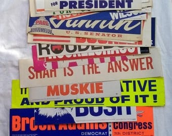 Huge Lot Vintage Political Campaign Election Bumper Stickers