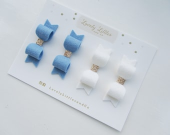 School Uniform Girl/baby Wool Felt mini hair bow clip set - Can be made in any colour