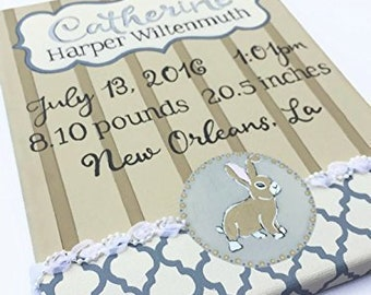 Custom Baby Birth Announcement and Keepsake Hand Painted on Canvas