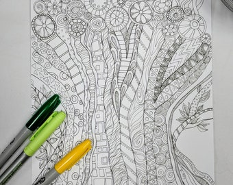 Tree of Life Coloring Page Digital Download Zentangle ZIA