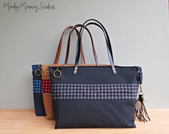 Black Waxed Canvas Zipper Tote with Grey Check Accent, Personalized Tote Bag with Leather Straps, Gingham Purse, Engraved Initial Tassel
