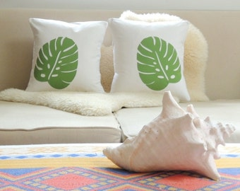Tropical Leaf Pillow Cover Pair - Beach Chic
