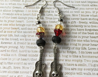 Skull Earrings - Limited Edition - In Clear, Black, Silver, Red and Yellow Guitar Sugar Skulls Day of the Dead Jewelry Dia de los Muertos